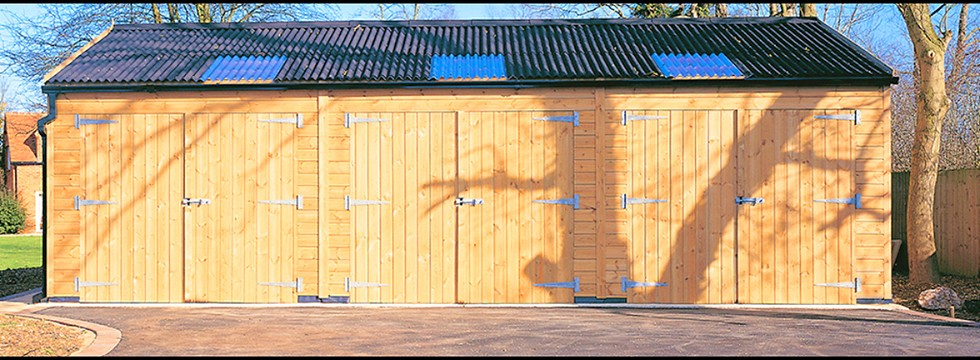Three double doors on timber shed